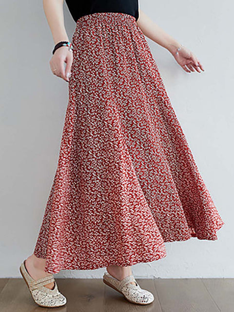 Color=Red | Casual Floral Printed Maxi Chiffon Midi Skirt For Women-Red 1