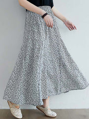 Color=White | Casual Floral Printed Maxi Chiffon Midi Skirt For Women-White 2