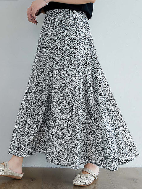 Color=White | Casual Floral Printed Maxi Chiffon Midi Skirt For Women-White 1