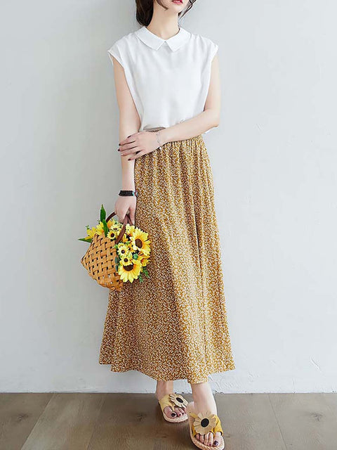 Color=Yellow | Casual Floral Printed Maxi Chiffon Midi Skirt For Women-Yellow 2