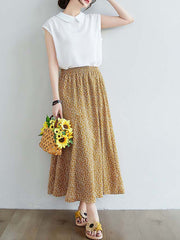 Color=Yellow | Casual Floral Printed Maxi Chiffon Midi Skirt For Women-Yellow 3