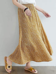 Color=Yellow | Casual Floral Printed Maxi Chiffon Midi Skirt For Women-Yellow 1