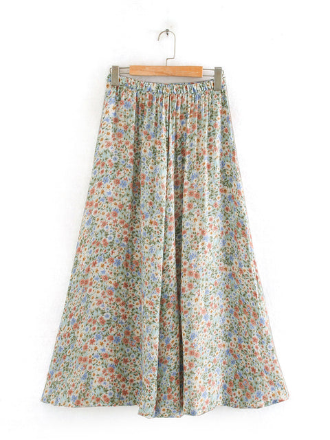Color=White | Women'S Cute Floral Printed Elastic Waist Midi Skirt-White 2