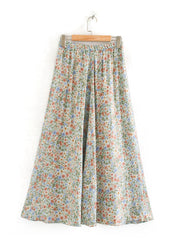 Color=White | Women'S Cute Floral Printed Elastic Waist Midi Skirt-White 3