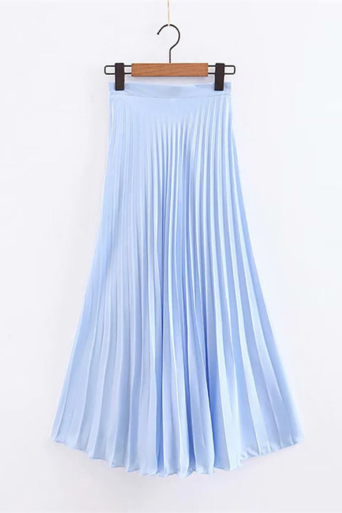 Color=Sky Blue | Elegant Solid Color Pleated Skirt-Sky Blue 1