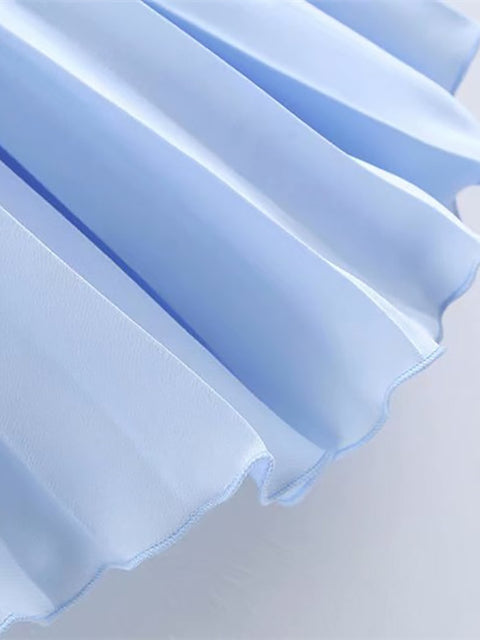 Color=Sky Blue | Elegant Solid Color Pleated Skirt-Sky Blue 4