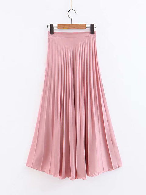 Color=Pink | Elegant Solid Color Pleated Skirt-Pink 1