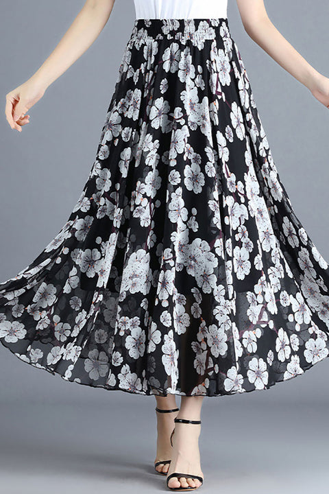 Color=Black | Elegant Floral Print Skirt-Black 1