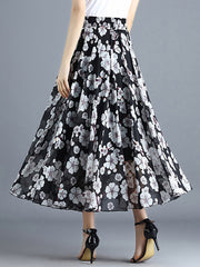 Color=Black | Elegant Floral Print Skirt-Black 2