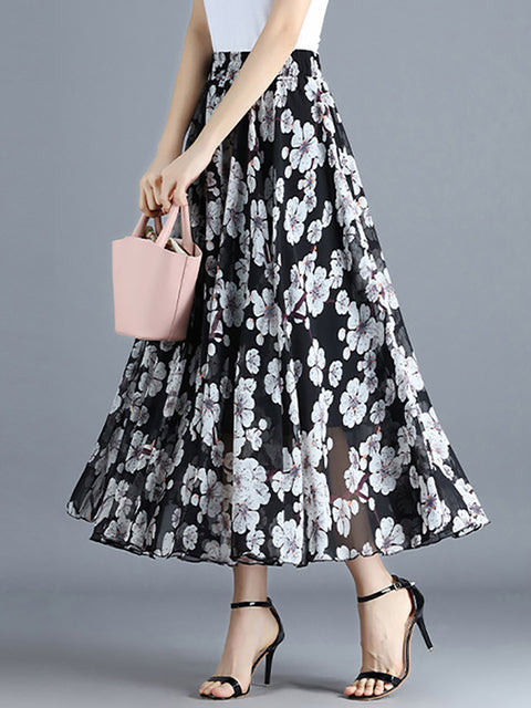 Color=Black | Elegant Floral Print Skirt-Black 3