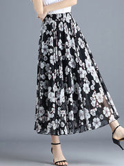 Color=Black | Elegant Floral Print Skirt-Black 4