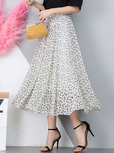 Color=White | Elegant Floral Print Skirt-White 2
