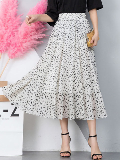 Color=White | Elegant Floral Print Skirt-White 3