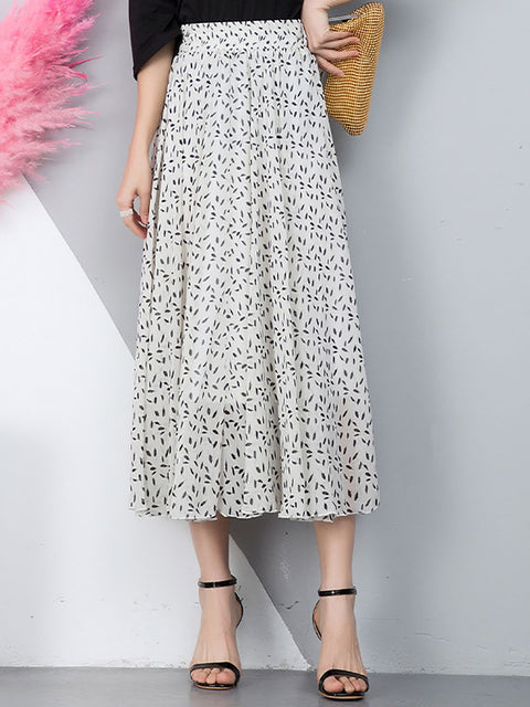 Color=White | Elegant Floral Print Skirt-White 1