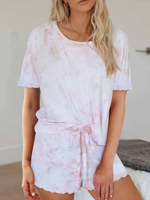 Color=Pink | Comfy Casual Tie-dye Short Sleeve Pajamas Suit for Women-Pink 1