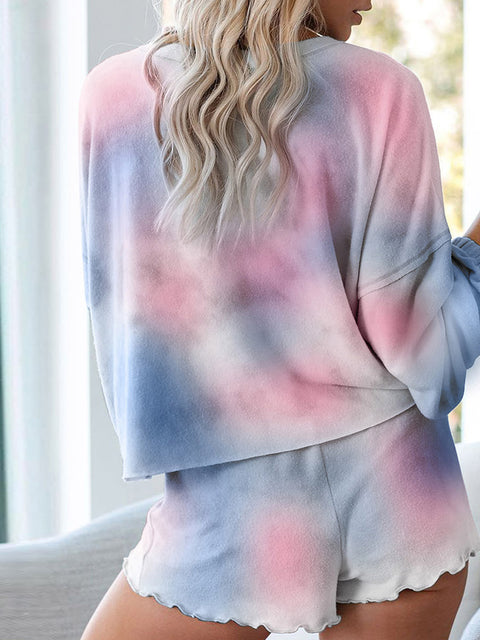 Casual Tie-dye Long Sleeves Pajama Sets for Women