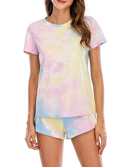Color=Sky Blue | Women'S Two-Piece Tie-Dye Pajama Suit With Short Sleeves-Sky Blue 1