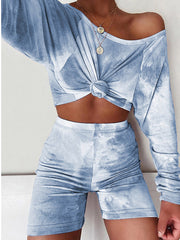 Color=Sky Blue | Cute Tie-Dye Sets With Long Sleeve Crop Tops & Shorts-Sky Blue 1