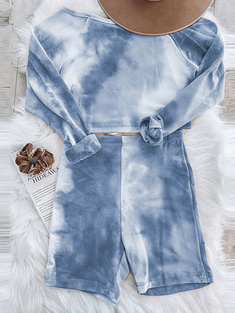 Color=Sky Blue | Cute Tie-Dye Sets With Long Sleeve Crop Tops & Shorts-Sky Blue 2