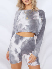 Color=Grey | Cute Tie-Dye Sets With Long Sleeve Crop Tops & Shorts-Grey 1