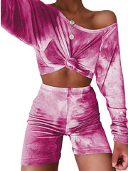 Color=Hot Pink | Cute Tie-Dye Sets With Long Sleeve Crop Tops & Shorts-Hot Pink 1