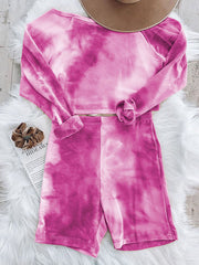 Color=Hot Pink | Cute Tie-Dye Sets With Long Sleeve Crop Tops & Shorts-Hot Pink 2