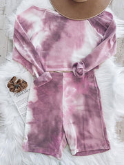Color=Purple | Cute Tie-Dye Sets With Long Sleeve Crop Tops & Shorts-Purple 4