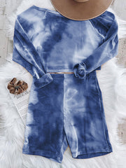 Color=Sapphire Blue | Cute Tie-Dye Sets With Long Sleeve Crop Tops & Shorts-Sapphire Blue 2