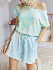Color=Green | Sexy Round Neck Tie-Dye Short Jumpsuit For Women-Green 3