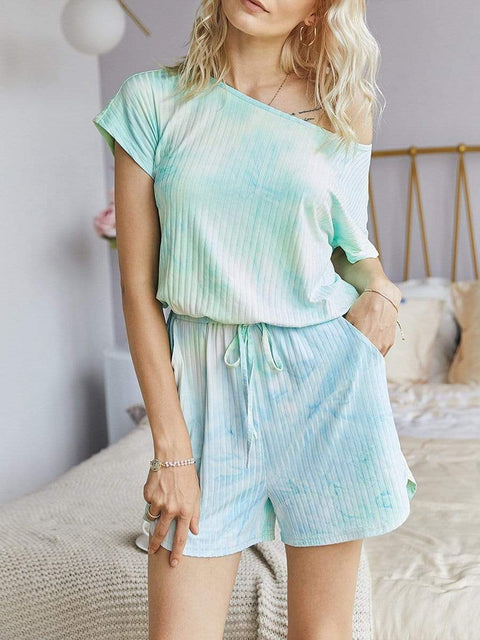 Color=Green | Sexy Round Neck Tie-Dye Short Jumpsuit For Women-Green 1