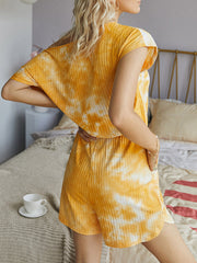 Color=Yellow | Sexy Round Neck Tie-Dye Short Jumpsuit For Women-Yellow 2