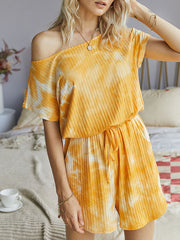 Color=Yellow | Sexy Round Neck Tie-Dye Short Jumpsuit For Women-Yellow 3