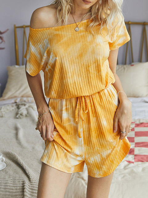 Color=Yellow | Sexy Round Neck Tie-Dye Short Jumpsuit For Women-Yellow 1