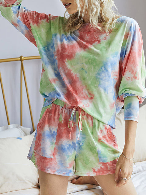 Color=Red | Cute Long Sleeves Pajama Tie-Dye Sets For Women-Red 3