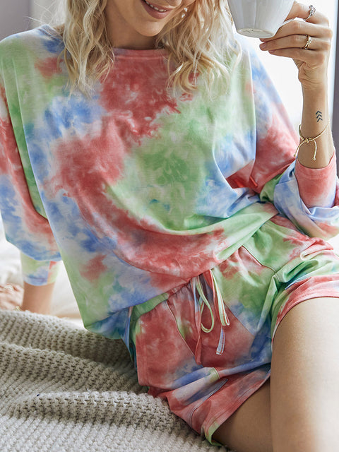 Color=Red | Cute Long Sleeves Pajama Tie-Dye Sets For Women-Red 4