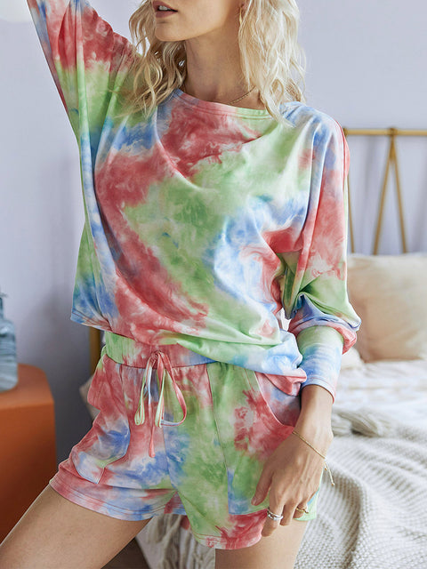 Color=Red | Cute Long Sleeves Pajama Tie-Dye Sets For Women-Red 1