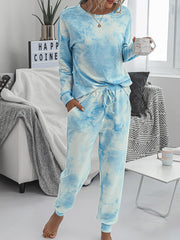 Color=Sky Blue | Women'S Dainty Pajama Sets With Long Sleeves & Pants-Sky Blue 4