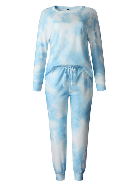 Color=Sky Blue | Women'S Dainty Pajama Sets With Long Sleeves & Pants-Sky Blue 5