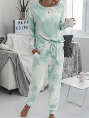 Color=Green | Women'S Dainty Pajama Sets With Long Sleeves & Pants-Green 3