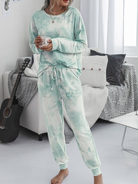 Color=Green | Women'S Dainty Pajama Sets With Long Sleeves & Pants-Green 4