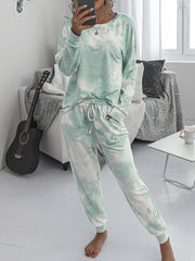 Color=Green | Women'S Dainty Pajama Sets With Long Sleeves & Pants-Green 1