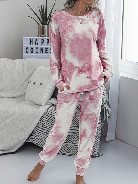 Color=Pink | Women'S Dainty Pajama Sets With Long Sleeves & Pants-Pink 3