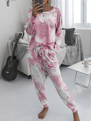 Color=Pink | Women'S Dainty Pajama Sets With Long Sleeves & Pants-Pink 4