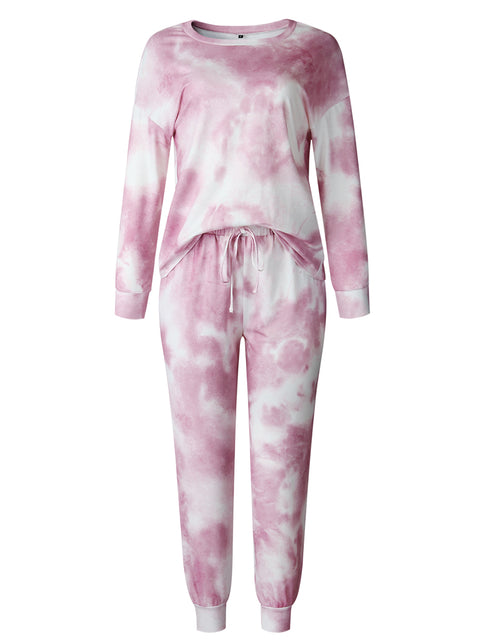 Color=Pink | Women'S Dainty Pajama Sets With Long Sleeves & Pants-Pink 5