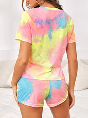 Color=Multicolor | Casual Tie-Dye Loungewear T-Shirts & Shorts For Women-Multicolor 2