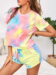 Color=Multicolor | Casual Tie-Dye Loungewear T-Shirts & Shorts For Women-Multicolor 3