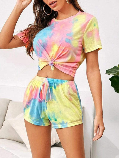 Color=Multicolor | Casual Tie-Dye Loungewear T-Shirts & Shorts For Women-Multicolor 1