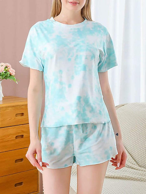 Color=Sky Blue | Gorgeous Tie-Dye Pajama Sets With Shorts For Women-Sky Blue 1
