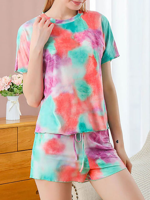Color=Green | Gorgeous Tie-Dye Pajama Sets With Shorts For Women-Green 3