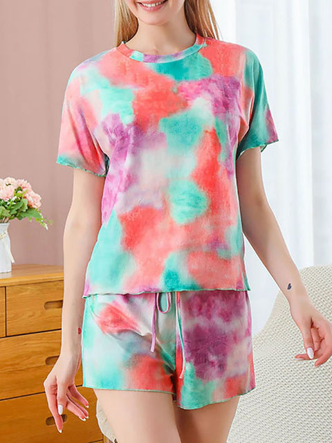 Color=Green | Gorgeous Tie-Dye Pajama Sets With Shorts For Women-Green 1
